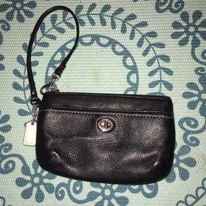 Coach black wristlet purse